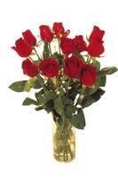 Peinture d'un vase de roses rouges
