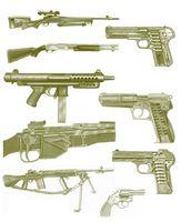 Deux types de cartouches d'armes à feu
