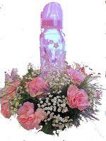 Comment faire un bébé douche Baby Bottle Table Floral Centerpiece