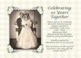 Idées pour une invitation de 50e anniversaire de mariage